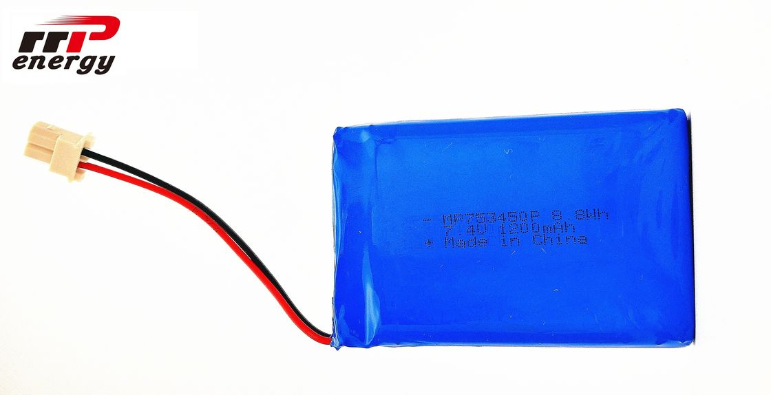 753450P 8.8W 7.4V 1200mAh High Power Lipo Battery pack For Electric Breast Pump with UL, CB, KC certificaiton