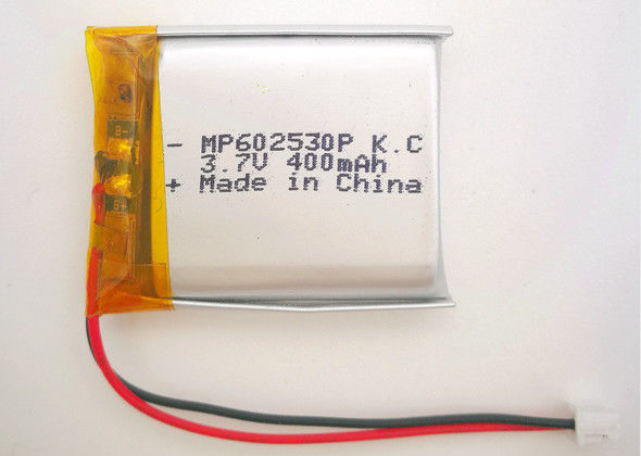 Ultra Thin Lithium Polymer Battery 602530 400mah 3.7V With CB KC UL Certification
